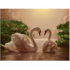 """Диамантен гоблен """"Лебеди при залез слънце """" 21x25 см с частично облепяне с кръгли диамантчета и красива кутия"""