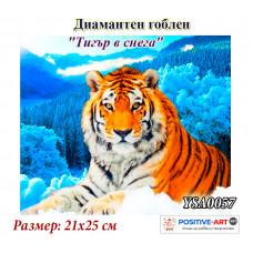 """Диамантен гоблен """"Тигър в снега"""" 21x25 см с частично облепяне с кръгли диамантчета и красива кутия YSA 0056"""