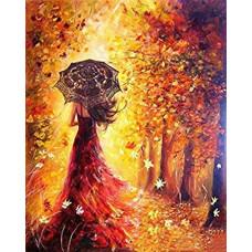 """Диамантен гоблен """"Бурна есен"""" 21x25 см с частично облепяне с кръгли диамантчета и красива кутия"""