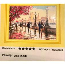 """Диамантен гоблен """"Градски пейзаж. Лондон"""" 21x25 см с частично облепяне с кръгли диамантчета и красива кутия"""