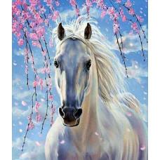 """Диамантен гоблен """"Бял кон"""" 21x25 см с частично облепяне с кръгли диамантчета и красива кутия"""