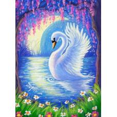 """Диамантен гоблен """"Приказен лебед"""" 21x25 см с частично облепяне с кръгли диамантчета и красива кутия"""