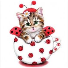 """Диамантен гоблен """"Котенце в чаша"""" 21x25 см с частично облепяне с кръгли диамантчета и красива кутия"""