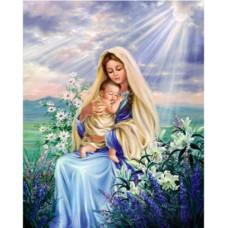 """Диамантен гоблен """"Дева Мария"""" 21x25 см с частично облепяне с кръгли диамантчета и красива кутия"""