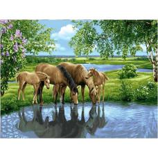 """Намаление на Диамантени гоблени """"Пейзаж с коне край реката"""" 50х65 см с 5D ефект с подрамка и красива кутия"""