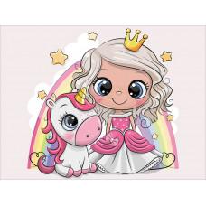 """Диамантена Мозайка с кристали """" Малката принцеса с еднорог"""" 30х40см с подрамка и подаръчна кутия"""