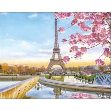 """Диамантена Мозайка с кристали """"Париж в разцвет"""" 40х50см с подрамка и подаръчна кутия"""