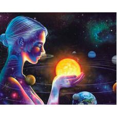 """Премиум Диамантен гоблен с кристали """"Вселена"""" 40х50см с подрамка и подаръчна кутия"""