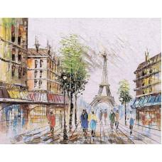 """Диамантен гоблен с кристали """"Париж през пролетта"""" 40х50см с подрамка и подаръчна кутия"""