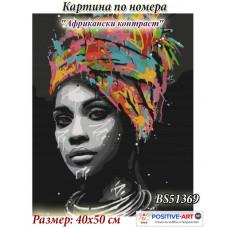"""Картина за рисуване по номера """"Африкански контраст"""" 40х50см с подрамка и подаръчна кутия. Brushme BS51369"""