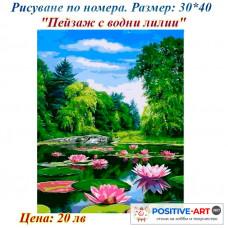 """Картина за рисуване по номера """"Пейзаж с лилии"""" 30х40см с подрамка и подаръчна кутия"""