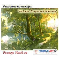 """Картина за рисуване по номера """"Пейзаж. В горската тишина"""" 30х40см с подрамка и подаръчна кутия"""