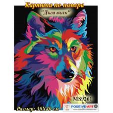 """Картина за рисуване по номера """"Дъга вълк"""" 30х40см с подрамка и подаръчна кутия MS9261"""
