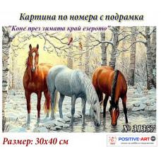 """Картина по номера """"Кончета през зимата край езерото"""" 30х40см с подрамка и красива кутия с дръжка № 31357"""