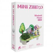 3D Пъзел Mini Zilipoo, Къща за вятърни мелници, Жива градина, 20x14x11 см M002