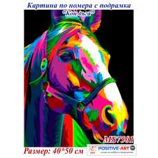 """Картина за рисуване по номера """"Кон дъга"""" 40х50см с подрамка и подаръчна кутия MS 7501"""