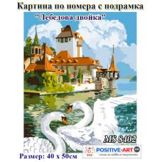 """Картина за рисуване по номера """"Лебедова двойка"""" 40х50см с подрамка и подаръчна кутия MS 8402"""