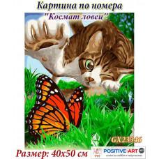 """Картина за рисуване по номера """"Котки. Космат ловец"""" 40х50см с подрамка и подаръчна кутия. Brushme GX23546"""