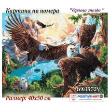 """Картина за рисуване по номера """"Птици. Орлово гнездо"""" 40х50см с подрамка и подаръчна кутия. Brushme GX35729"""