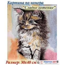 """Премиум! Картина по номера """"Котенце"""" с подрамка и подаръчна кутия. 30/40 см"""