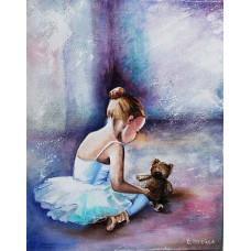 """Премиум. Картина по номера """"Балерина. Първите стъпки"""" 40х50см с подрамка и подаръчна кутия"""