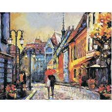 """Премиум. Картина по номера """"Есенен Европейски град"""" 40х50см с подрамка и подаръчна кутия"""