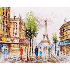 """Премиум. Картина по номера """"Впечатляващ Париж"""" 40х50см с подрамка и подаръчна кутия"""