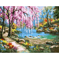 """Премиум. Картина по номера """"Сакура край реката"""" 40х50см с подрамка и подаръчна кутия"""