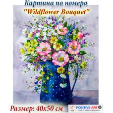 """Премиум! Картина по номера """"Букет от диви цветя"""" с подрамка и подаръчна кутия. 40/50 см"""