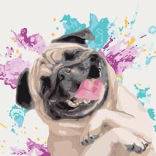 """Картина за рисуване по номера """"Кучета. Любим веселец"""" 40х40 см с подрамка. Идейка КНО4066"""