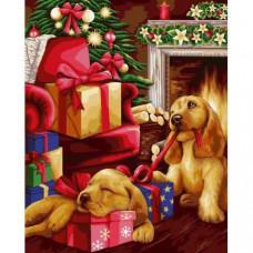 """Премиум! Картина по номера """"Новогодишни подаръци"""" с подрамка и подаръчна кутия Wizzardi. 40/50 см"""