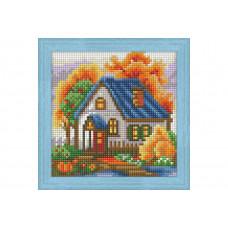 Премиум. Диамантен гоблен Есена къща с Цялостно облепяне с квадратни диамантчета Wizzardi