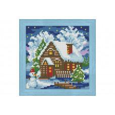 Премиум. Диамантен гоблен Зимна къща с Цялостно облепяне с квадратни диамантчета Wizzardi
